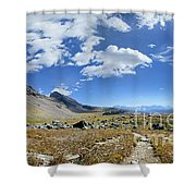 Cathedral Peak Over Waterton Valley Trail - Glacier National Park Shower Curtain