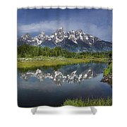 Grand Teton Cathedral Reflections Shower Curtain