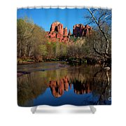 Cathedral Rock Reflection In Oak Creek Shower Curtain