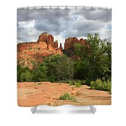 Cathedral Rock With Clouds Shower Curtain