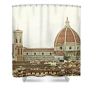 Cathedral Santa Maria Del Fiore At Sunset, Florence. Shower Curtain