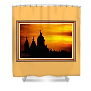 Cathedral Silhouette Sunset Fantasy L A With Alt. Decorative Ornate Printed Frame. Shower Curtain