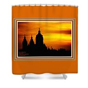 Cathedral Silhouette Sunset Fantasy L A With Decorative Ornate Printed Frame. Shower Curtain