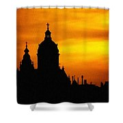 Cathedral Silhouette Sunset Fantasy L B Shower Curtain