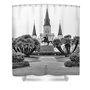 Catholic Basilica Jackson Sq Andrew Jackson New Orleans  Shower Curtain