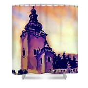 Catholic Church Building, Architectural Dominant Of The City, Graphic From Painting. Shower Curtain