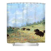 Catlin: Elk & Buffalo Shower Curtain