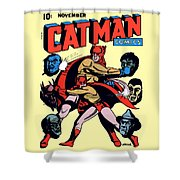 Catman And Kitten Square Format Shower Curtain