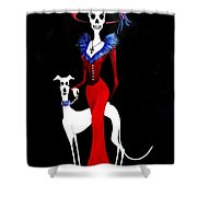 Catrina With Greyhound Shower Curtain