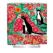 Cats And Roses Shower Curtain