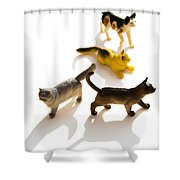 Cats Figurines Shower Curtain