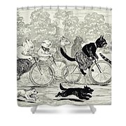 Cats In A Bicycle Race, Hyde Park, 1896 Shower Curtain