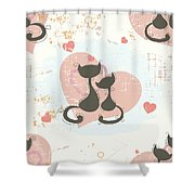 Cats In Love, Romantic Decorative Seamless Pattern Shower Curtain