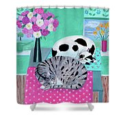 Cats In Spring Shower Curtain