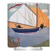 Cats On Cat Boat Shower Curtain