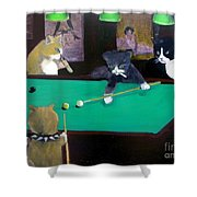 Cats Playing Pool Shower Curtain