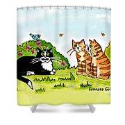 Cats Talking In A Sunny Garden Shower Curtain