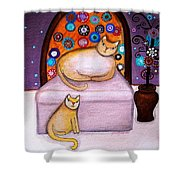 Cats Waiting Shower Curtain