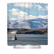 Catskill Mountains With Lighthouse Shower Curtain by Nancy De Flon