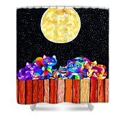 Catting In The Moonlight Shower Curtain