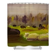 Cattle In Field  Shower Curtain