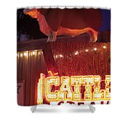 Cattlemen's Neon Stock Yards Shower Curtain