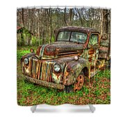 Caught Behind 1947 Ford Stakebed Pickup Truck Art Shower Curtain