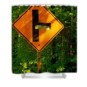 Caution T Junction Road Sign Shower Curtain