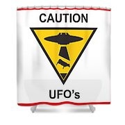 Caution Ufos Shower Curtain by Pixel Chimp