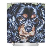 Cavalier King Charles Spaniel Black And Tan Shower Curtain by Lee Ann Shepard