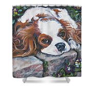 Cavalier King Charles Spaniel In The Pansies  Shower Curtain by Lee Ann Shepard