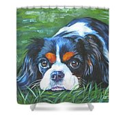 Cavalier King Charles Spaniel Tricolor Shower Curtain by Lee Ann Shepard