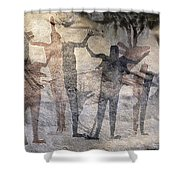 Cave Painting Of Prehistoric Man Shower Curtain