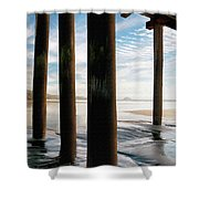 Cayucos Pier Shower Curtain by Sharon Foster