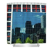 Cbc Building Tv Screen Of Downtown Highrises Shower Curtain