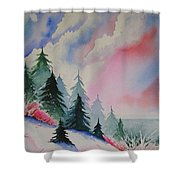 Cedar Fork Snow Shower Curtain by Karen Stark