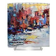 Cefalu Seaside Shower Curtain by Elise Palmigiani