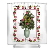 Celadon Vase With Goldenrod Shower Curtain