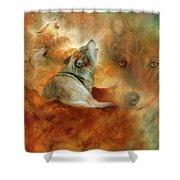 Celestial Wolves 2 Shower Curtain