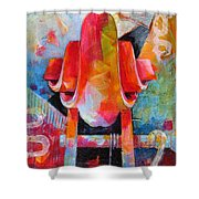 Cello Head In Blue And Red Shower Curtain