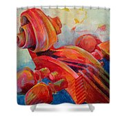 Cello Head In Red Shower Curtain