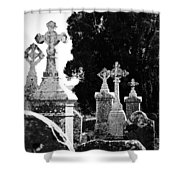 Celtic Crosses At Fuerty Cemetery Roscommon Ireland Shower Curtain