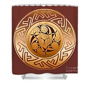 Celtic Spiral And Key Pattern Shower Curtain