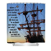 Celtic Tall Ship - El Galeon In Halifax Harbour At Sunrise Shower Curtain