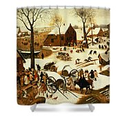 Census At Bethlehem Shower Curtain by Pieter the Elder Bruegel