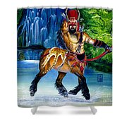 Centaur In Waterfall Shower Curtain