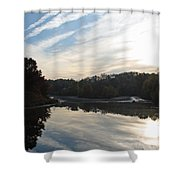 Centennial Lake Autumn - Great View From The Bridge Shower Curtain