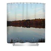 Centennial Lake Autumn - Reflective Moon Over The Lake Shower Curtain