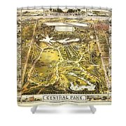 Central Park Map, Manhattan New York, 1863 Shower Curtain