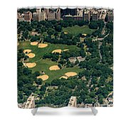 Central Park North Meadow In New York City Aerial View Shower Curtain